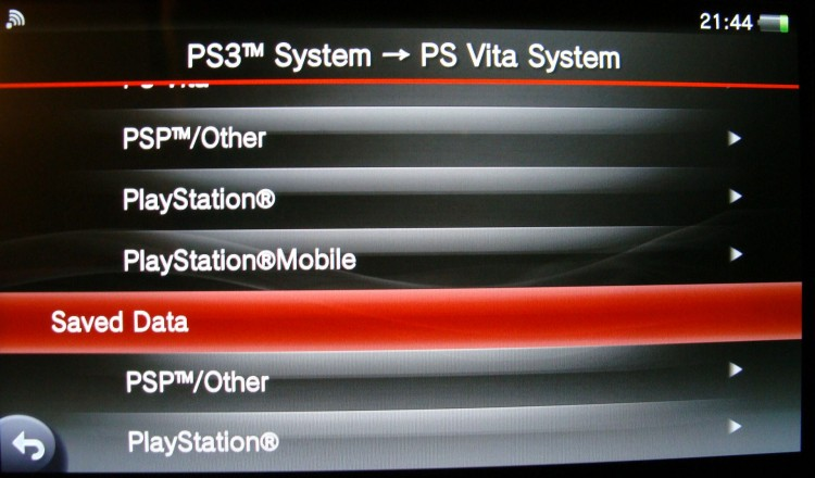 PS Vita data transfer