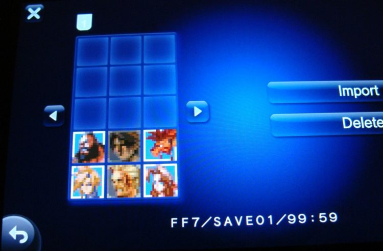 PS Vita FFVII load save