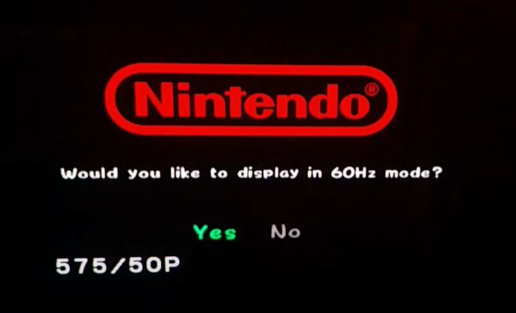 PAL 60 Hz mode GameCube